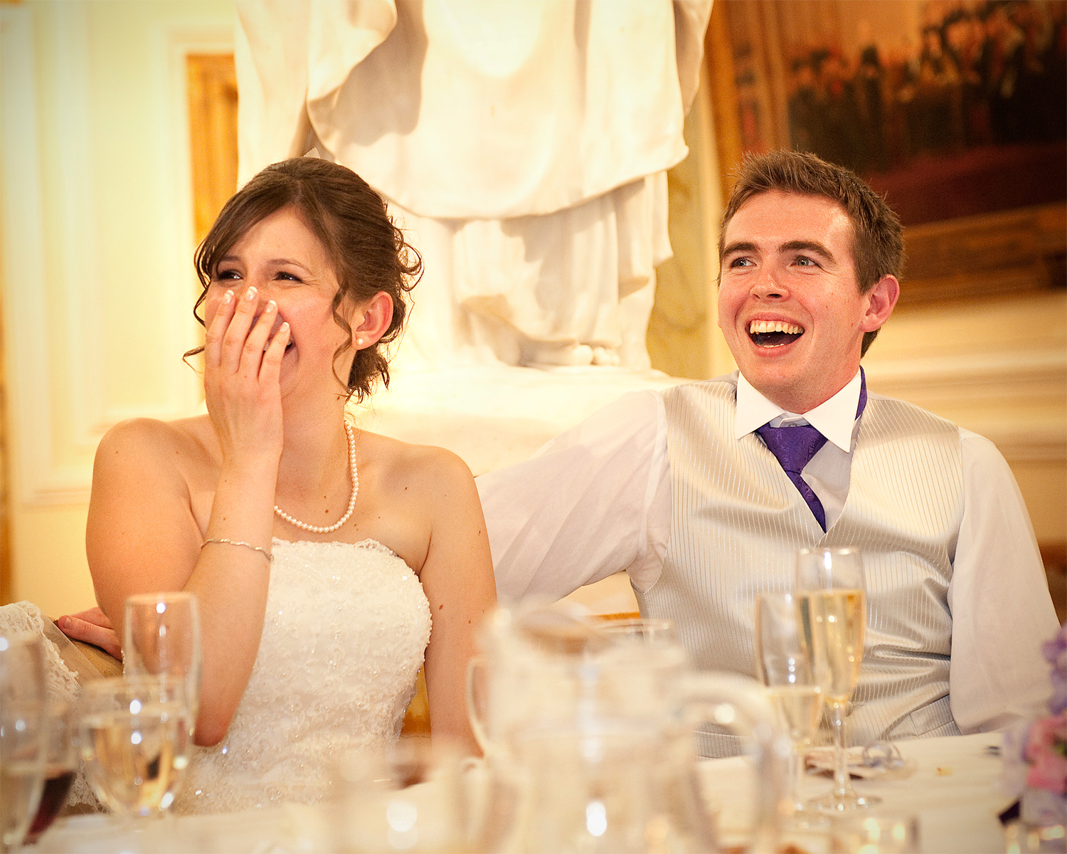 Cardiff-wedding-reception-Laughing-Bride-Groom-City-Hall-Cardiff-wedding-photographer