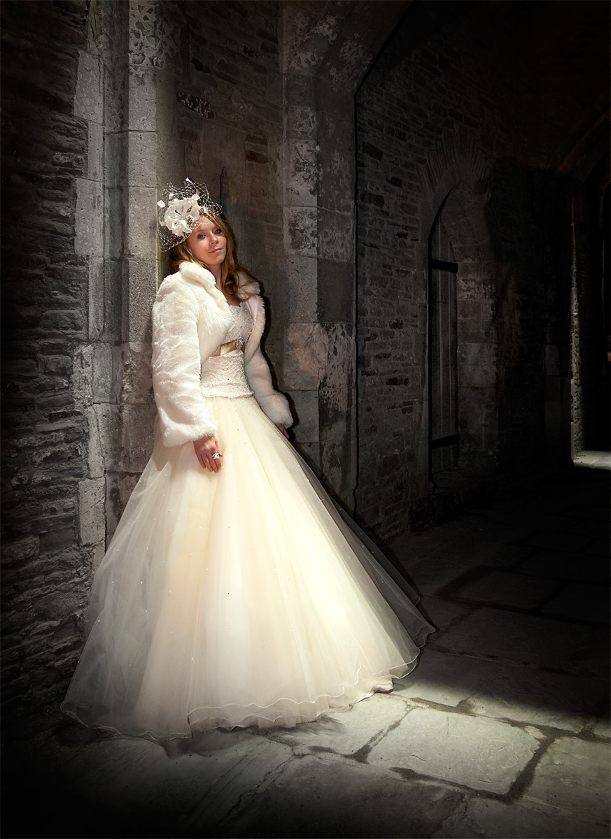 Winter-weddings-Bride-nighttime-Caerphilly-Castle-wedding-photographer