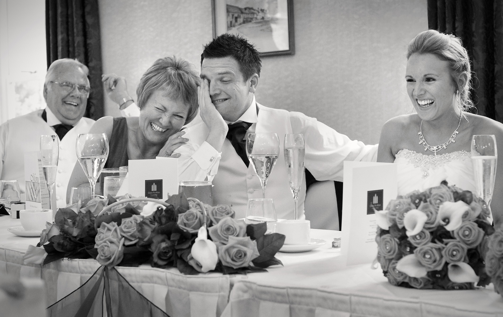 wedding speaches at the Glen-yr-afon hotel, Usk.
