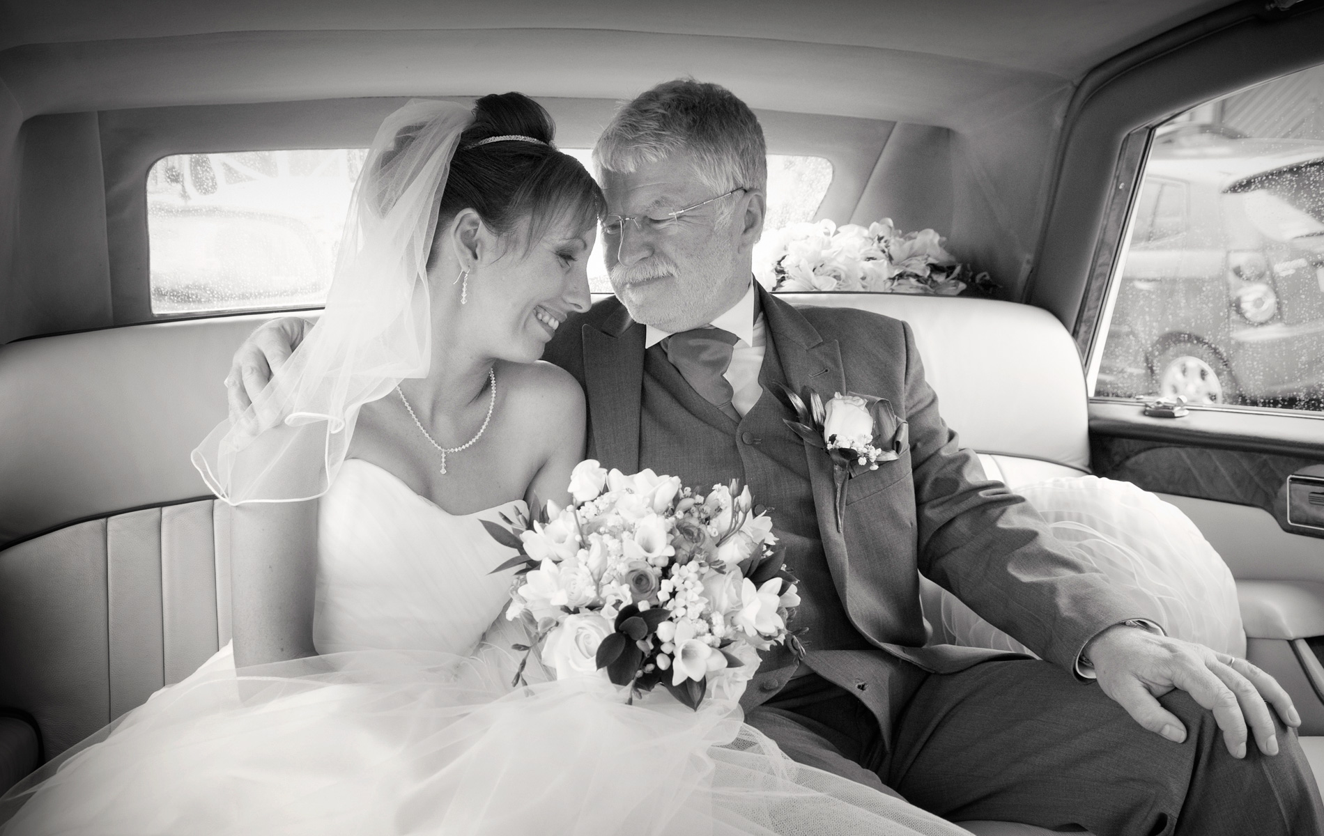 Bride-and-father-in-car-before-south-wales-wedding-st-Illtud-church-wedding=photography
