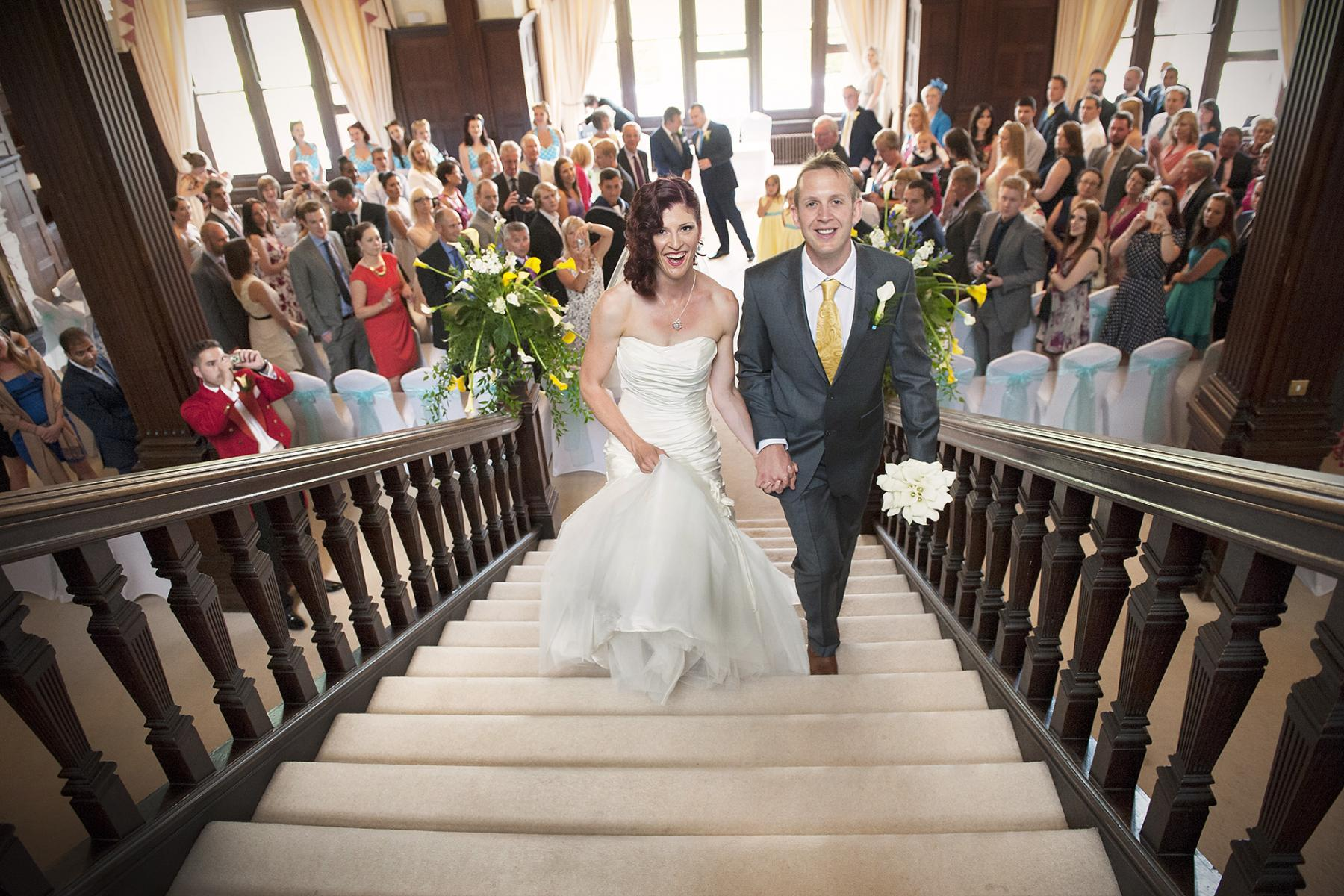 Buckland-hall wedding-photographer-bride-groom-staircase-civil-wedding-ceremony-south-wales-vegetarian-wedding-venues