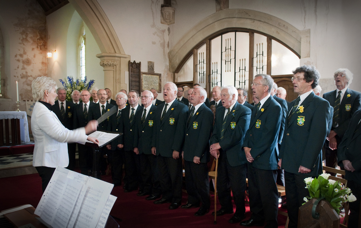 Wedding-photographers-South-Wales-Pontyclun-male-voice-choir in action-South-Wales