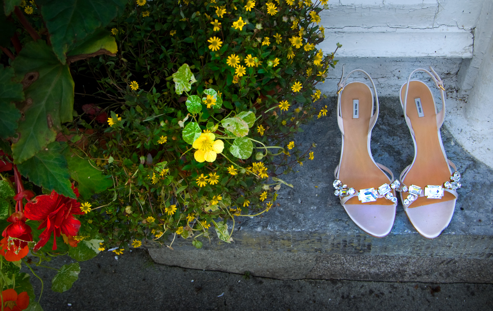 Wedding shoes & bouquet, the Rectory, Glandore.