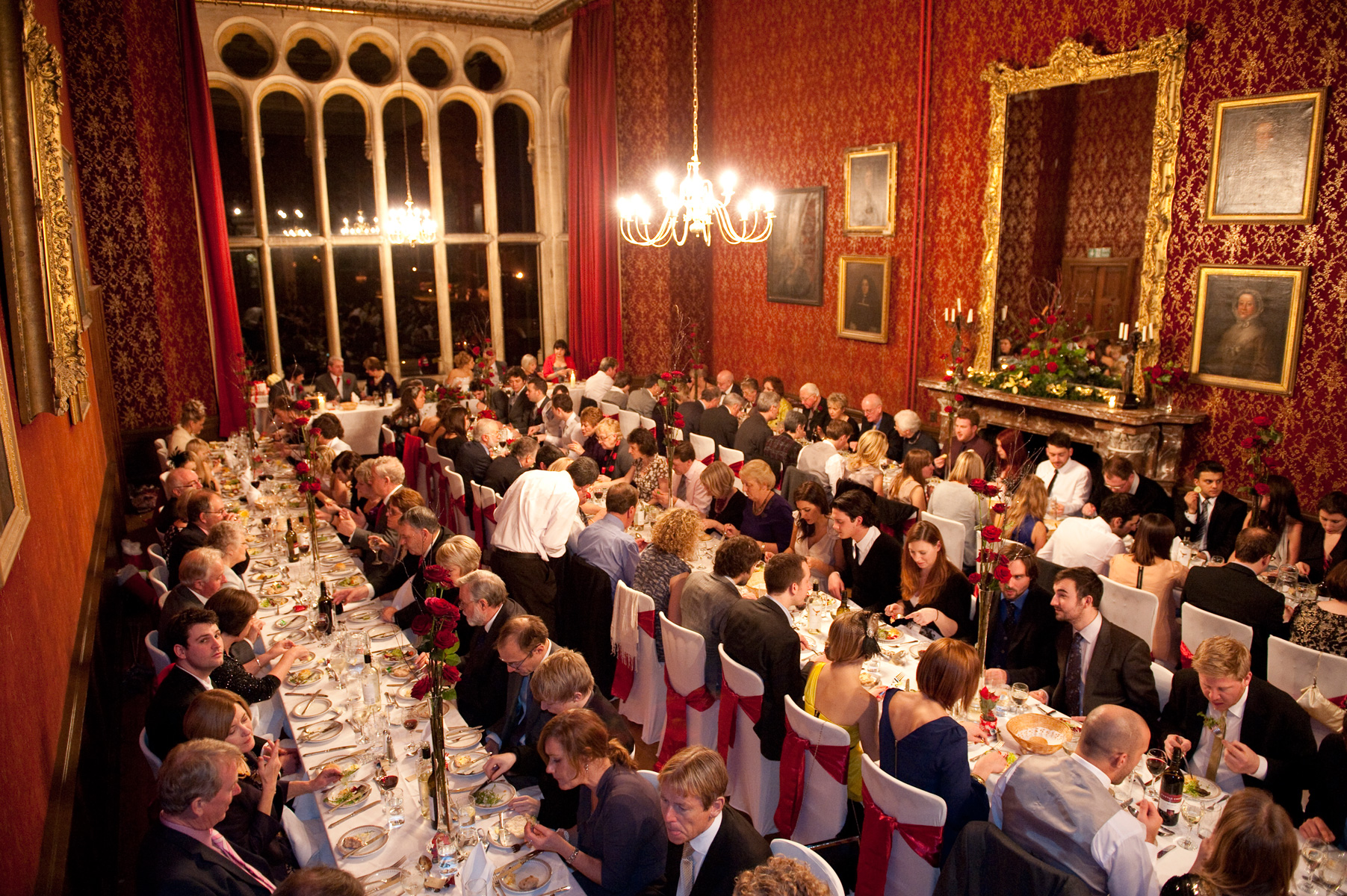 Wedding reception in the dining room of Grittleton House.