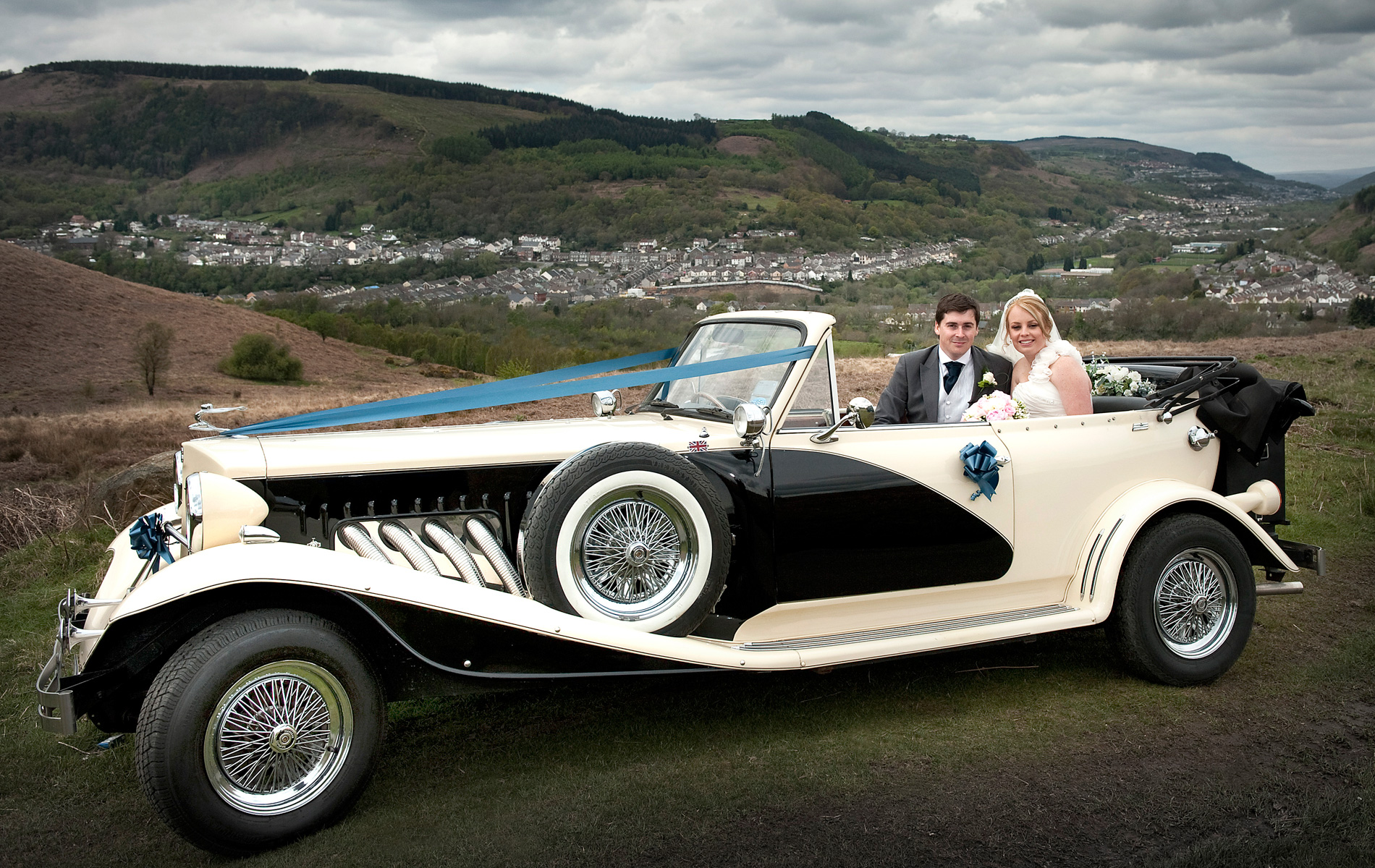 Wedding-car-above-Pontypridd-South-wales-wedding-photographer-AR-Jenkins-Llechwen-Hall-weddings