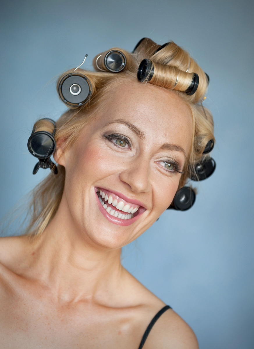 laughing-bride-with-curlers-barry-wedding-photographer