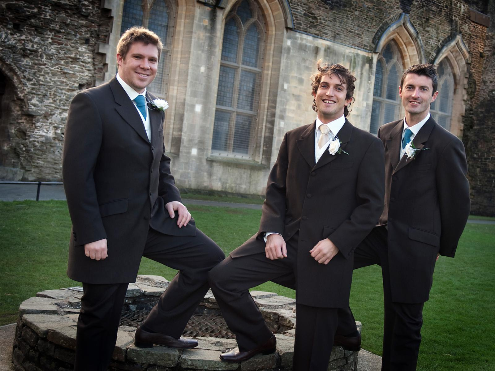 Caerhilly-wedding-photographer-Groom-and-best-men-Caerphilly-castle wedding photography
