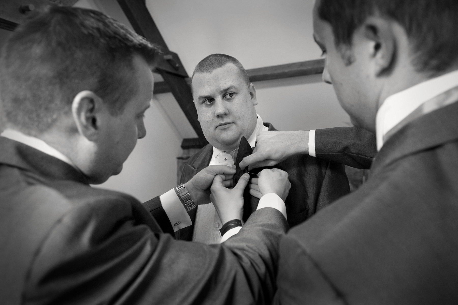 Sorting an ushers cravat, Gellifawr Hotel wedding.