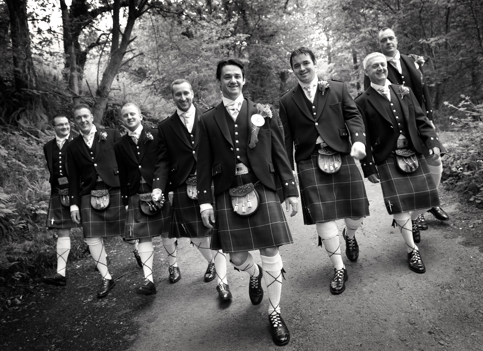 Groom-and-ushers-kilts-walking-Ebeneezer-Chapel-Cwmtwrch-Uchaf-weddings
